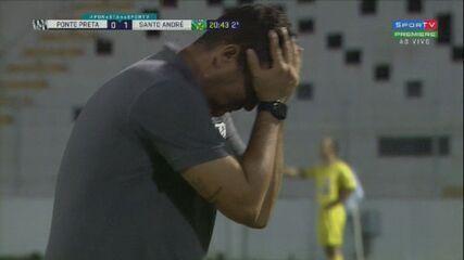 Sozinho na área, Renan Mota desperdiça chance clara de empate aos 20' do 2°