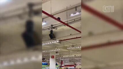 Cliente foi surpreendido por mico andando em tubulação e o seguiu até a sessão de frutas de mercado em Petrópolis