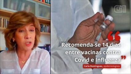 'Recomenda-se um espaço de 14 dias entre as vacinas contra Covid e influenza', afirma epidemiologista