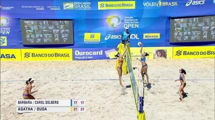 Pontos finais de Bárbara e Carol Solberg 0 x 2 Ágatha e Duda pela final do Circuito Brasileiro de Vôlei de Praia