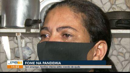 Famílias em situação de vulnerabilidade sobrevivem de ajuda, na Paraíba
