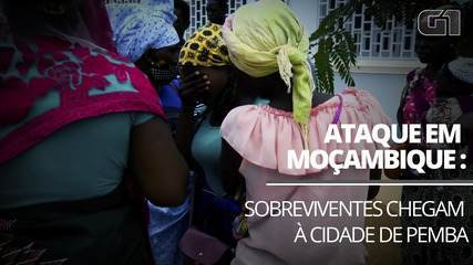 Sobreviventes de ataque terrorista em Palma, Moçambique, chegam à cidade de Pemba