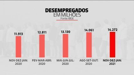 Brasil tem 14,3 milhões de desempregados, aponta IBGE