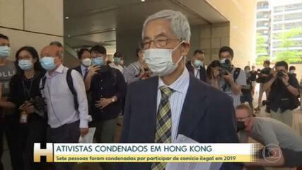 Sete ativistas pró-democracia são condenados em Hong Kong por participar de protesto ilegal
