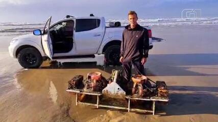 Surfista de SC encontra sismógrafo que estava perdido há meses