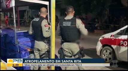 Idoso morre após ser atropelado por moto, em Santa Rita