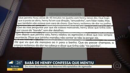 Babá de Henry diz que se sentiu intimidada e mentiu por medo