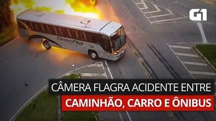 Câmeras registraram acidente entre carro, ônibus e caminhão, na PR-423