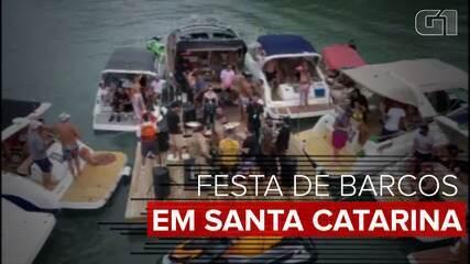 PM flagra festa clandestina em lanchas na Grande Florianópolis