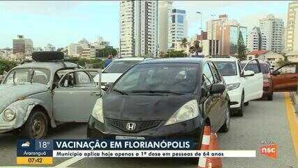 Covid-19: Florianópolis aplica primeira dose da vacina em pessoas de 64 anos