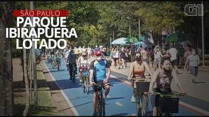 VÍDEO: No 2º dia de reabertura, Parque Ibirapuera tem longas filas de carros e aglomeração