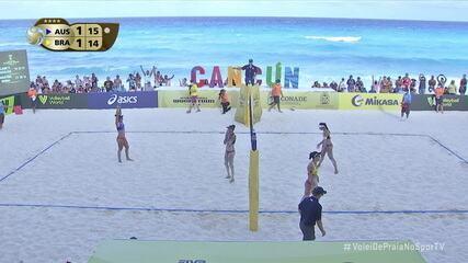 Os pontos finais de Clancy/Artacho 2 x 1 Ágatha/Duda, pela final feminina do Circuito Mundial de Vôlei de Praia