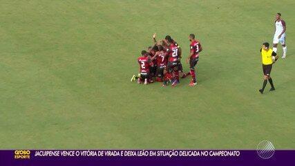 Com dois gols de Dinei, Jacuipense vira e vence o Vitória no Campeonato Baiano