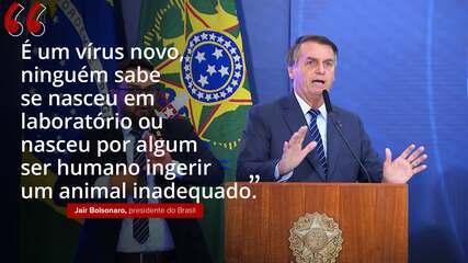 VÍDEO: 'É um vírus novo, ninguém sabe se nasceu em laboratório ou nasceu por algum ser humano ingerir um animal inadequado', diz Bolsonaro sobre coronavírus