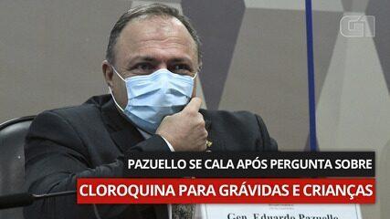 VÍDEO: Pazuello fica em silêncio após pergunta sobre indicação de cloroquina para grávidas e crianças