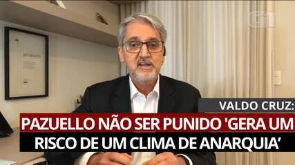 VÍDEO: Pazuello não ser punido 'gera um risco de um clima de anarquia', diz Valdo Cruz