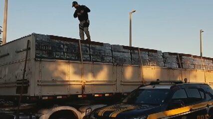 PRF apreende carreta com 55 mil garrafas de cerveja sem nota fiscal, em Morrinhos