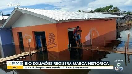 Em Manacapuru, rio Solimões registra marca histórica