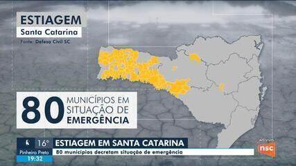 80 municípios decretam situação de emergência por causa da estiagem em SC