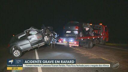 Acidente entre carros deixa uma vítima fatal e três feridas em Rafard