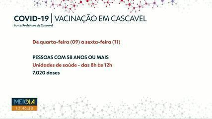 Aumenta o número de doses de vacina contra a Covid para quem 58 anos ou mais em Cascavel
