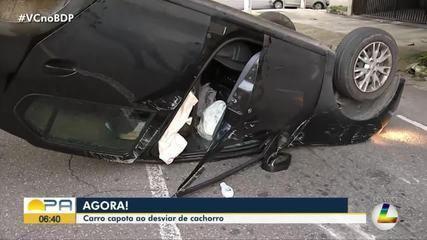 Carro capota ao desviar de cachorro em Belém