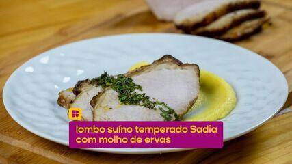 Lombo suíno feito no forno: receita fácil servida com molho de ervas