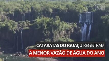 VÍDEO: Cataratas do Iguaçu registram a menor vazão de água do ano