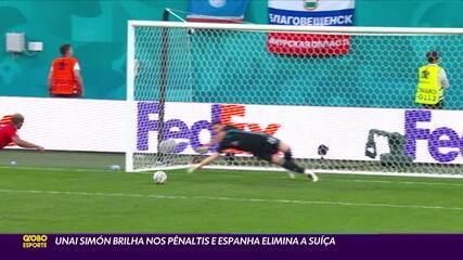 Goleiro Unai Simón brilha nos pênaltis e Espanha elimina Suíça na Eurocopa 2020