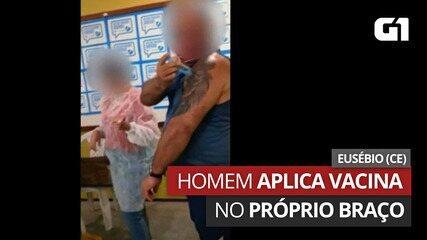 Homem arranca seringa de vacinadora e aplica vacina no próprio braço na Grande Fortaleza; vídeo   Ceará   G1