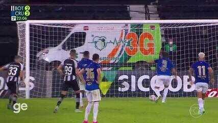 Diego Loureiro defende pênalti batido por Marcelo Moreno, mas atacante do Cruzeiro marca no rebote