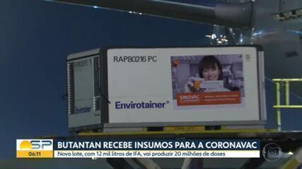 Butantan recebe 12 mil litros de IFA para produzir mais 20 milhões de doses da CoronaVac em SP
