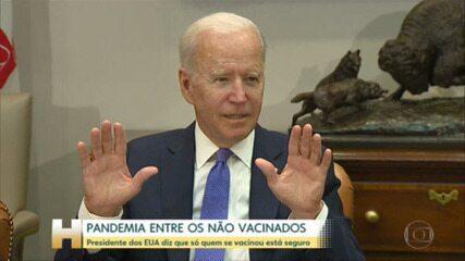 Presidente dos EUA, Joe Biden, diz que pandemia agora está entre as pessoas que não tomaram vacina