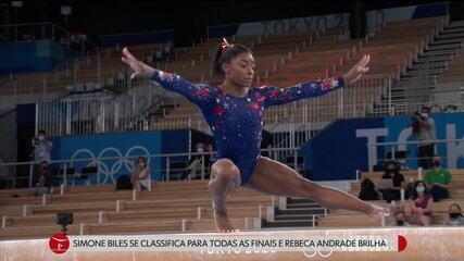 Simone Biles se classifica para todas as finais e Rebeca Andrade brilha