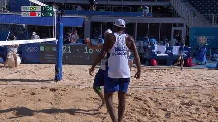 Melhores momentos: Evandro/Bruno Schmidt 2 x 0 Abicha/Elgraoui no vôlei de praia masculino
