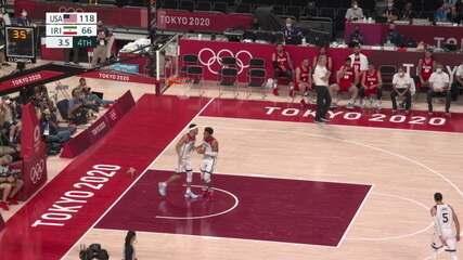 Melhores momentos: EUA 120 x 66 Irã pelo basquete masculino