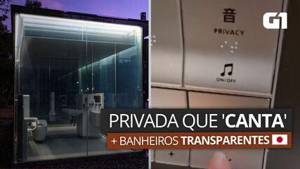 Brasileiras mostram privada que 'canta' e banheiro transparente no Japão