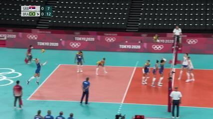 Roberta tem ótima sequência no saque, e Brasil abre 13/7 no 1º set - Olimpíadas de Tóquio