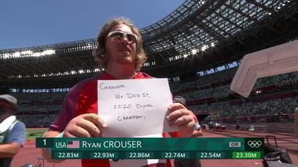 Um show a parte! Ryan Crouser domina do início ao fim, faz último lançamento espetacular, aumenta recorde olímpico e é campeão pela segunda vez - Olimpíadas de Tóquio