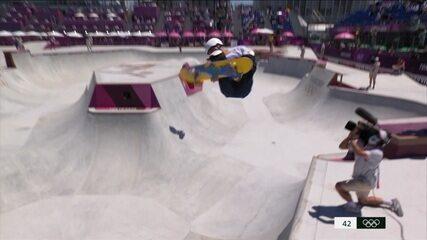 Pedro Barros faz 86.14 na primeira volta da final do skate park - Olimpíadas de Tóquio