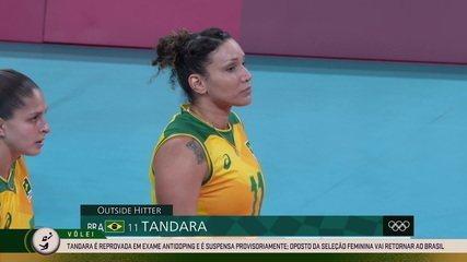 Tandara Caixeta, da seleção feminina de vôlei, é reprovada em exame antidoping e está sunspensa provisóriamente por possível violação - Olimpíadas de Tóquio
