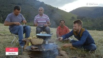 Rodrigo Hilbert prepara feijão tropero e chuleta