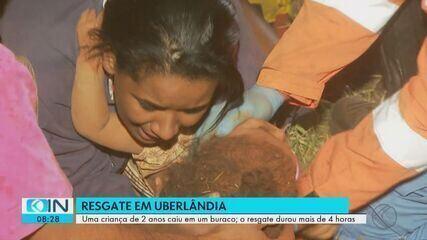 Com ajuda de adolescente, bombeiros resgatam criança de buraco após horas em Uberlândia