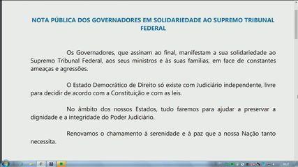 Governadores divulgam nota em solidariedade ao STF