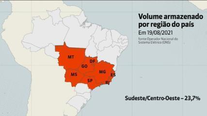 Crise hídrica: nível dos reservatórios no Sudeste e Centro-Oeste é o pior em 20 anos
