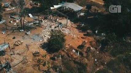 Imagens aéreas mostram como ficou região de garimpo após explosão de dinamites