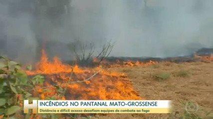 Dificuldade de acesso e distâncias desafiam equipes de combate a incêndios no Pantanal, em Mato Grosso