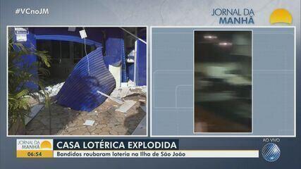 Bandidos explodem casa lotérica na Ilha de São João, região metropolitana de Salvador