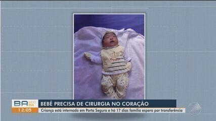 Família de bebê pede por transferência hospitalar; criança tem problemas cardíaco