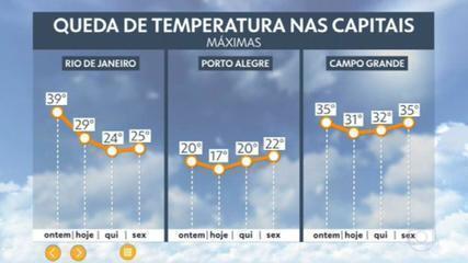 Passagem de frente fria traz queda de temperatura no Sul, Sudeste e Centro-Oeste